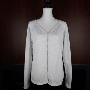 Tommy Hilfiger White Metallic Knit Button Cardigan